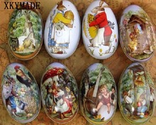 100pcs/lot big size Easter Egg Tin Box mixed pattern wedding candy box Storage case Wholesale(China)