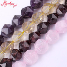 "10mm Faceted Cube Quartz Garnet Natural Stone Beads For DIY Necklace Bracelets Jewelry Making Spacer Strand 15"",Free Shipping(China)"