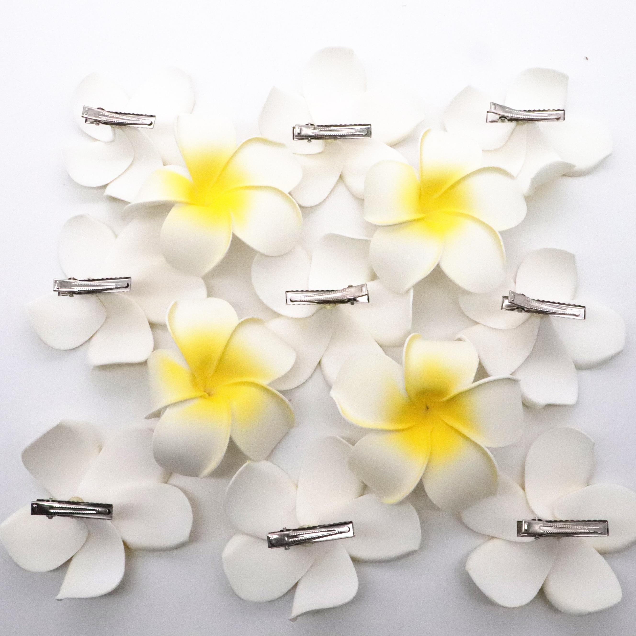 5PCS  White Foam Hawaiian Plumeria flower Frangipani Flower bridal hair combs