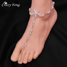 New Summer Barefoot Sandals Anklets Trendy Foot Jewelry For Women Simulated Pearl Beads Chain Anklet With Crystal Seastar Charms(China)