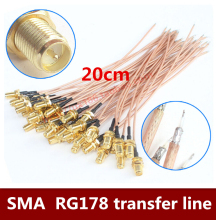 2PCS/LOT   WIFI 3G wireless router LAN SMA female head male needle modified RG178 silver wire antenna transfer line  20cm