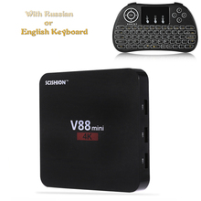 SCISHION V88 Mini TV Box with Russian keyboard Rockchip 3229 Quad-Core 1G+8G Android 6.0 OTT 4K 3D Media Player android tv box(China)