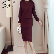 Sytiz Knitted Women Set Burgundy Black O-neck Long Sleeve Casual Costume Knee Length 2017 Autumn Winter New Arrivals(China)