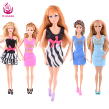 UCanaan 20 Items Clothes&Shoes for Barbie Doll 10 Clothes Outfit + 10 Shoes Mix Style Mix Color Fit Barbie DIY Furniture(China)