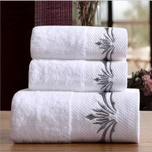 3-Pieces Embroidered White Hotel Towels 600g Cotton Towel Set Face Towels Bath Towel For Adults Washcloths High Absorbent