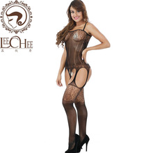 Buy leechee j306 ladies hot sexy lingerie temptation hollow-out body stocking erotic underwear lenceria sexo porn costumes+print
