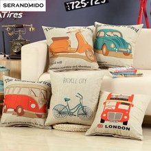 Korean Style Pillow Case Cool Bus Car Bicycle Cushion Cover Printed Linen Cotton Throw Pillow Cover For Home Sofa Car Decoration