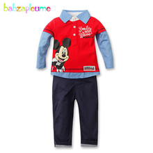 Autumn Kids Boys Clothes 2pcs/set Shirt+Pant Toddler Boy Tracksuit Cartoon Mouse Design Baby Outfits Christmas Boy Clothing A033