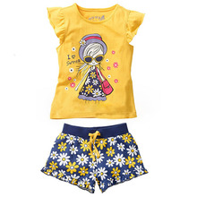 2016 Girls clothing set Kids apparels Clothing sets Cartoon kids Clothing Sets Girls Cotton Suit