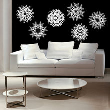 Large size Snowflakes Wall Stickers for Living Room Snow flake Winter Home Decor Ski Lodge Christmas Wall Art Vinyl Murals J53(China)