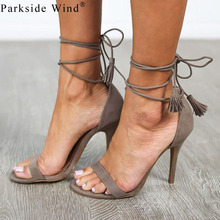 Parkside Wind 2017 Strap Sandals Summer Faux Suede Women's High Heel Shoes High Thin Strap Heels Women Causal Sandals Size -5(China)