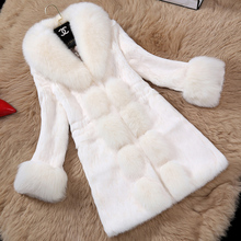 Women  faux Rex Rabbit  hair fur coat  wholesale long new  Fox Fur  collar coat  Faux Fur Coats Winter   Outwears Women Clothing