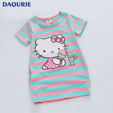Summer Kids dresses for girls 2-8Y Striped Cartoon Girls dress Donald Duck Print two sides pocket vestido children baby clothes(China)