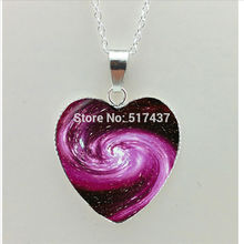 2017 New Milky Way Heart Necklace Universe Space Heart Pendant Jewelry Glass Photo Pendant Necklace