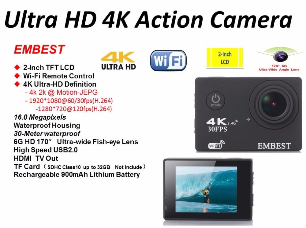 EMBEST 4K WIFI Sports Action Camera With Remote Control Ultra HD Waterproof Underwater 30M Camcorder 16MP 170 Degree Wide Angle 2