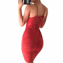 OOTN female 2017 summer dresses sexy club lace up bodycon women strap sleeveless tunic evening suede dress slip sheath sundress