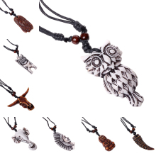 19 Styles Wholesale Wax Rope Necklace Resin Owl Elephant Wolf Tooth Indian Pendant Necklace For Men Couple Buy Two Send One