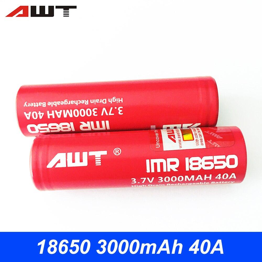 18650 Rechargeable Battery AWT 3.7V 3000mAh E Cigarette Battery 18650 40A Vape Battery Eleaf iStick Pico VS SONY VTC6 T017