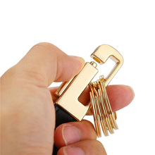 New Hot Valentines Day Gift For Men Black Leather Keychain Car Key Golden Charms White Gold Color Key Ring Key Holder K2292(China)