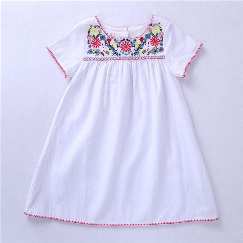 Hurave Girl Dresses Solid White Girl Dresses Summer Style Children/'s Clothing Dr