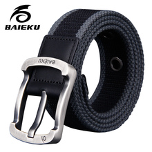 Buy BAIEKU Young fashion belt Unisex comfort belt Fashion stripe needle buckle canvas belt men's belt for $12.76 in AliExpress store