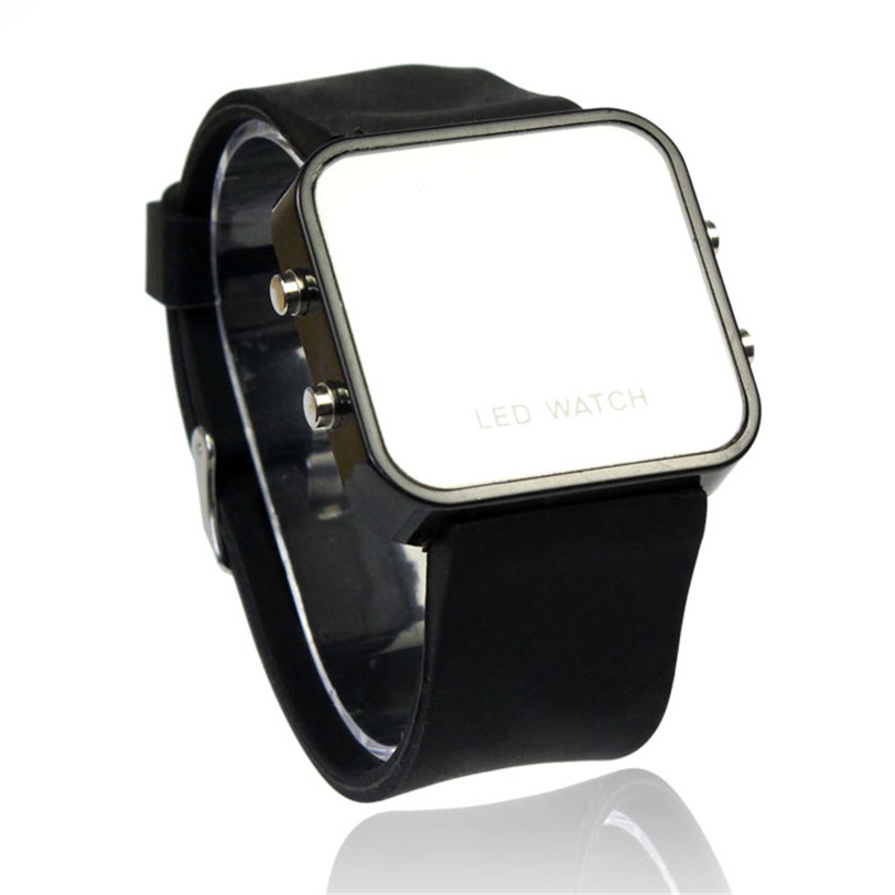 Delicate free shipping Men or Lady Mini LED Digital Calendar Date Silicone Sport Mirror Faceless Watch relogio feminino Oct14<br><br>Aliexpress