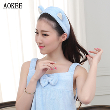 Brand AOKEE High Quality Hairbands Bathroom Sets Women Wash a face/Outdoor Sports Comfortable Coral Velvet Headband Hair Towels(China)