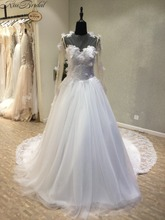 Buy Gorgeous New alibaba china Wedding Dress 2018 O-Neck Long Sleeves Chapel Train A-Line Lace Tulle Wedding Dresses robe de mariee for $242.10 in AliExpress store
