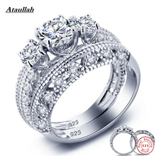 Ataullah New 2Pcs 925 Sterling Silver Rings Set for Women Zircon SONA Diamond Wedding Rings Gift for Engagement Jewelry RWD841(China)