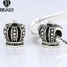 BISAER Silver Plated Royal Crown Charm Bracelet Pendant Original Accessories Diy Beads Jewelry Making GO5285