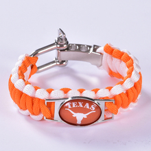 Texas Longhorns Custom Paracord Bracelet NCAA College Football Charm Bracelet Survival Bracelet , Drop Shipping! 6Pcs/lot!(China)