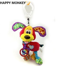 Happy Monkey Baby Rattle Teether Newborn Soft Plush Toys  Baby Crib Hanging Toys Stroller Playing Toy Car Lathe Hanging KF076
