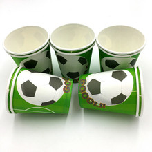 10pcs/lot football cups kids birthday wedding party supplies boys favor football paper glass happy birthday party supplies(China)