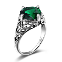 Szjinao Round Full Finger Rings For Women Party Vintage Created Emerald Jade 925 sterling Silver bague femme de marque de luxe