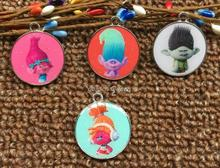 50pcs Cartoon trolls Metal Charm Key chain necklace Pendants DIY Jewelry Making Mobile Phone Accessories