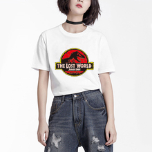 Unisex Jurassic Park T-shirt Sublimation Print Women Vogue T shirt Girl Big Loose Size White Printed Music Tshirt Tee Shirts(China)