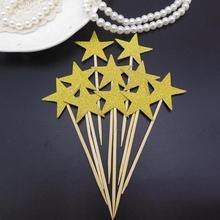 30pcs Glitter Paper Star Cake Toppers Twinkle Cake Supplies Ceremony Cupcake Toppers Wedding Party Decoration(Gold And Silver)