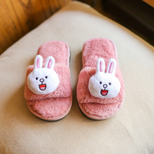 Winter Children Shoes Girls Shoes 2017 Lovely Cartoon Rabbit Kids Girls Home Slippers Soft Warm Plush Cotton Indoor Home Shoes