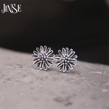 JINSE Real 925 Sterling Silver Earrings Vintage Thai Daisy Flower Pure Handmade Bangkok Silver Jewellery Boutique 8mm