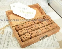 Free DHL Shipping 40sets 30pcs/set DIY Lowercase Uppercase Alphabet Rubber Stamp Vintage Wood Stamps Letters Number Wooden Box(China)