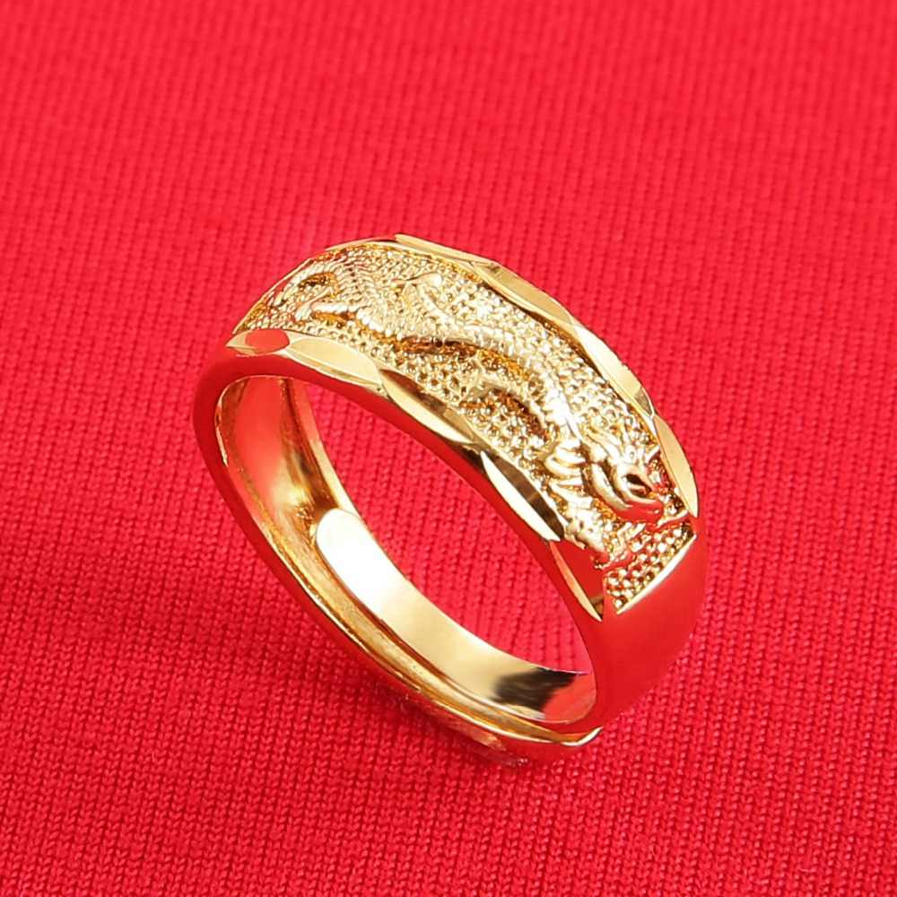 852d1159c7 Carved Chinese Dragon Copper Ring Bands For Men Women Wide Fashion Gold  Ring Jewelry