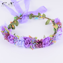 CXADDITIONS Rose Flower Crown Headwrap Ribbon Adjustable HeadBand Wreath Tiaras Wedding Headpiece Photography Garland Christmas(China)