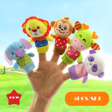 Cute Finger Plush Cartoon mini Animal Hand Puppet Animal Finger Puppet soft stuffed dolls kid Baby toys Xmas Gift 5pcs a set(China)