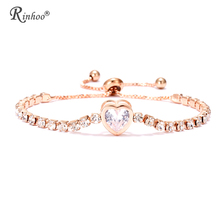 RINHOO 새 Heart 테니스 Bracelet 대 한 Women Rose Gold Silver Color Cubic 지르코니아 Charm Bracelets & Bangles Femme Wedding Jewelry(China)