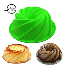 24.5*8.9cm Big Swirl Shape Silicone Butter Cake Mould Kitchen Baking Tools For Cakes Bakery Accessories Bakeware Mold