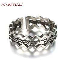 Kinitial 1Pcs 925 Silver Double Wave Shape Ring Antique Adjustable Band Ring Wheat Shape Rings Online Shopping Jewelry