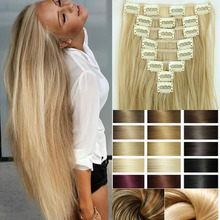 8pcs/set 23inch Hairpiece 170g Straight 18 Clips in False Styling Hair Synthetic Clip In Hair Extensions Heat Resistant