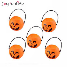 JOY-ENLIFE 5pcs Child Candy Jar Portable Pumpkin Bucket Candy Gift Bag  Home Halloween Party Decor Children Trick Or Treat