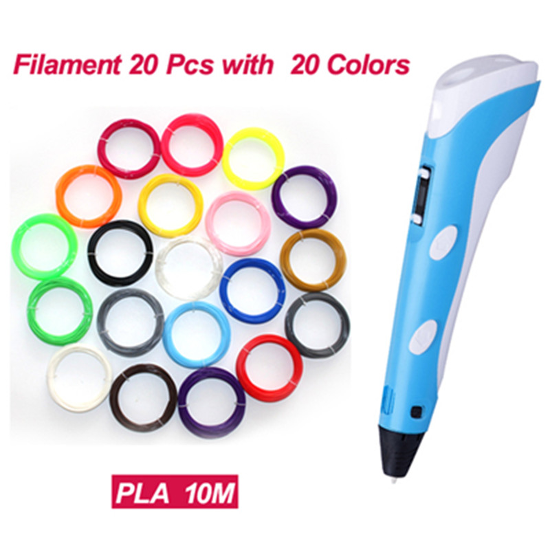 3D Pen 2nd Generation Pen 20 pcs 1.75mm10m ABS / PLA Filament 100~250V 2A with LCD Screen Top Quality 3D Pen Printing Doodlers <br><br>Aliexpress