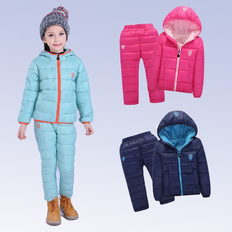 Children Set Boys girls Clothing sets winter 1-7year hoody Down Jacket + Trousers Waterproof Snow Warm kids Clothes suit 6 color<br>